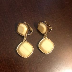 Liz Claiborne Gold and Cream Clip on earrings
